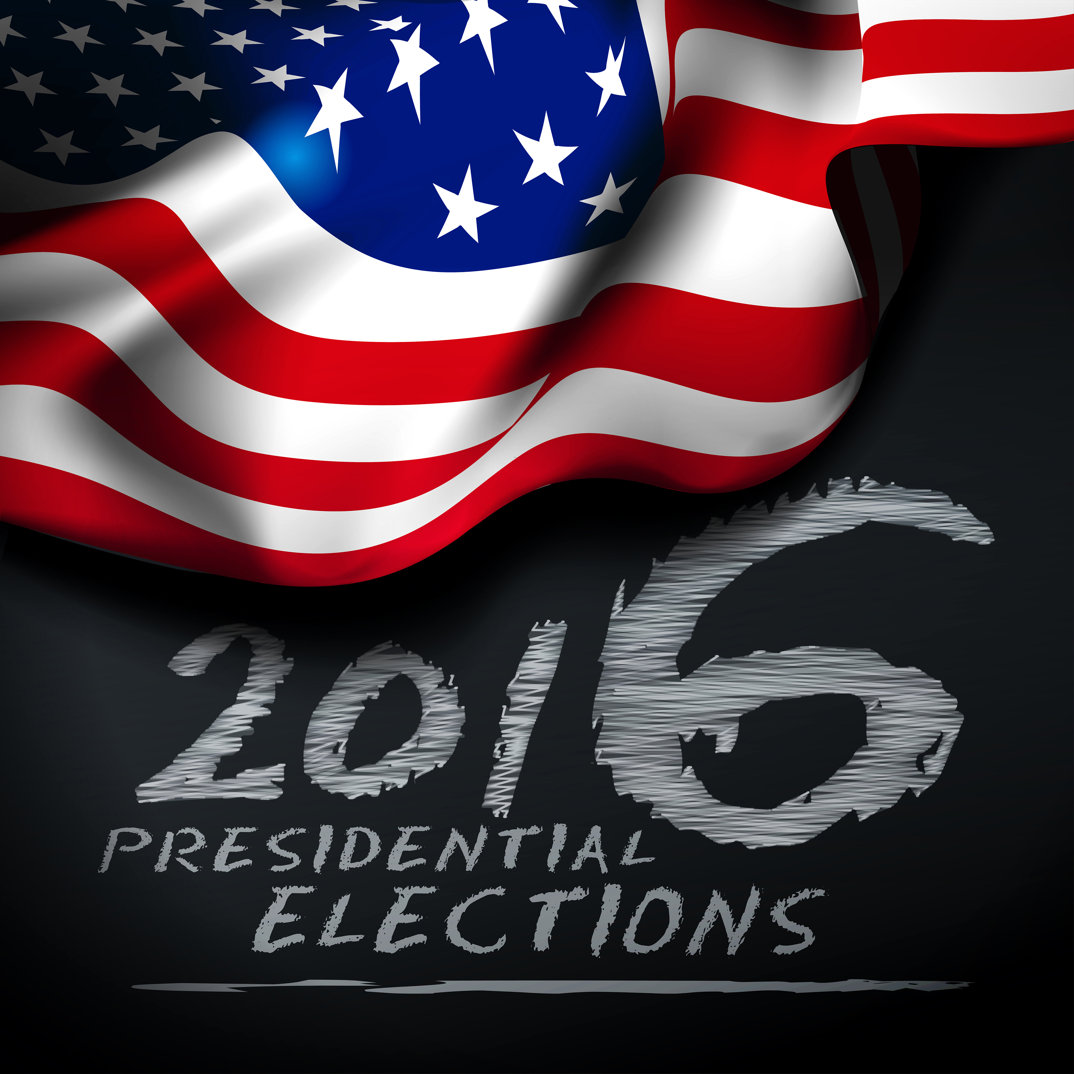 Presidential elections in the United States. Vector illustration with the American flag on the background of chalkboards